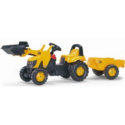 Tractor con pala a pedales de juguete JCB RollyToys con remolque