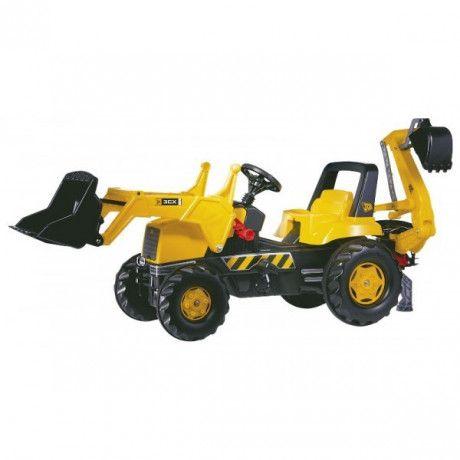 Retroexcavadora con pala y retroexcavadora trasera a pedales de juguete JCB