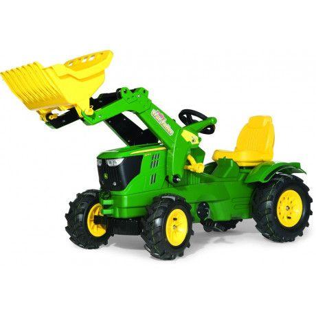 Tractor con pala a pedales de juguete John Deere 6210R RollyToys con ruedas neumáticas