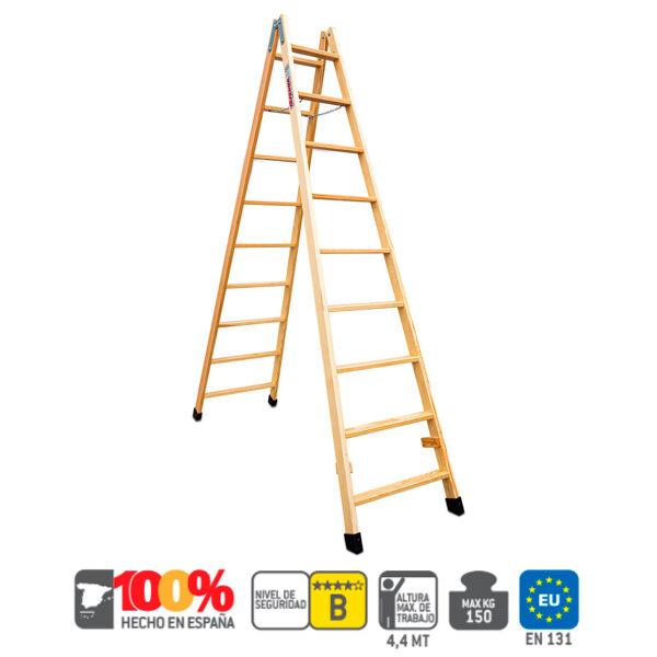 Escalera de madera doble subida Faraone LDB
