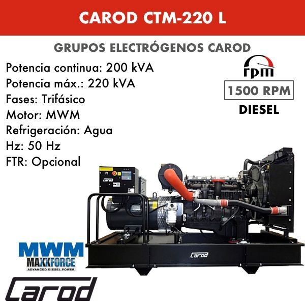 Grupo electrógeno Carod CTM-220 L Trifasico