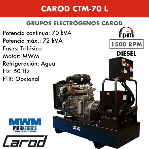 Grupo electrógeno Carod CTM-70 L Trifasico