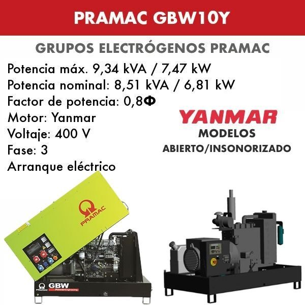 Grupo electrógeno Pramac GBW10Y
