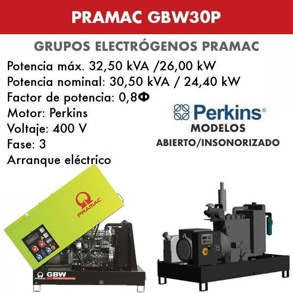 Grupo electrógeno Pramac GBW30P