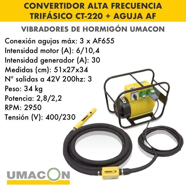 Convertidor de alta frecuencia trif. hormigón CT-220 + Aguja