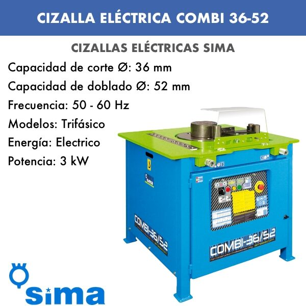 Cizalla Eléctrica de Sima COMBI 36-52 Trif.