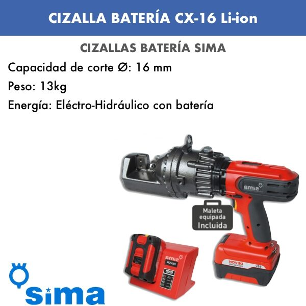 Cizalla portátil de batería de Sima CX 16 Li-ion