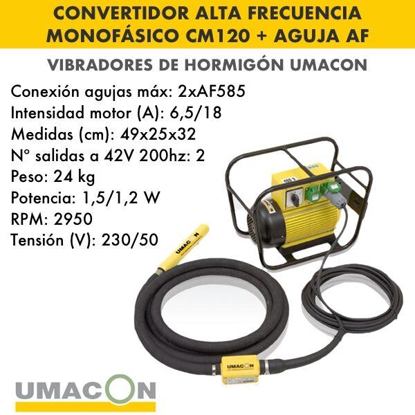Convertidor de alta frecuencia monof. hormigón CM120 + Aguja