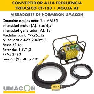 Convertidor de alta frecuencia trif. hormigón CT-130 + Aguja