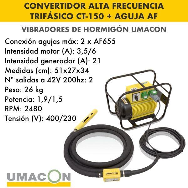 Convertidor de alta frecuencia trif. hormigón CT-150 + Aguja