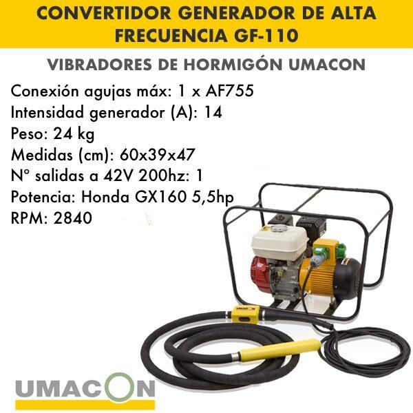 Convertidor generador de alta frecuencia para hormigón GF-110