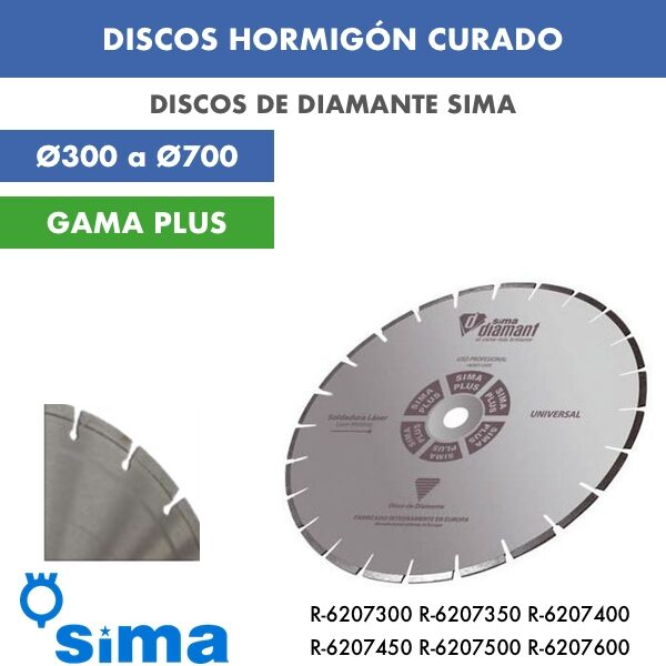 Disco de diamante Sima Hormigón Curado Ø300 a Ø700