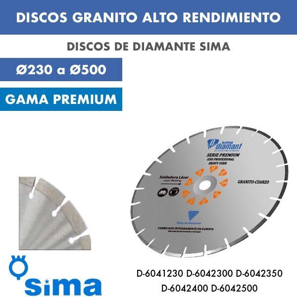 Discos de diamante Sima Granito Alto Rendimiento Ø230 a Ø500