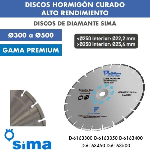 Discos de diamante Sima Hormigón Curado Alto Rendimiento Ø300 a Ø500