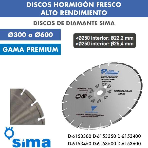 Discos de diamante Sima Hormigón Fresco Alto Rendimiento Ø300 a Ø600