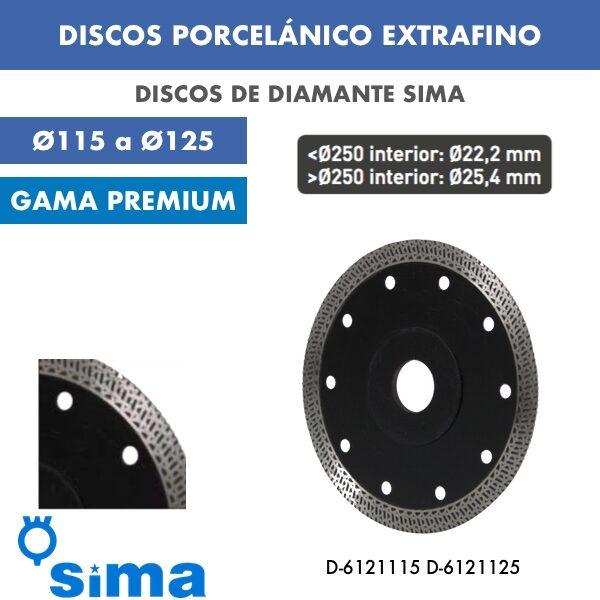 Discos de diamante Sima Porcelánico extrafino Ø115 a Ø125
