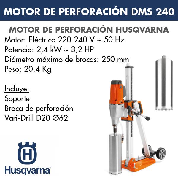 Motor de perforación DMS 240 + Vari-Drill D20 Ø62
