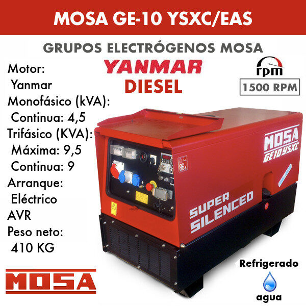 Grupo electrógeno Mosa GE-10 YSXC/EAS