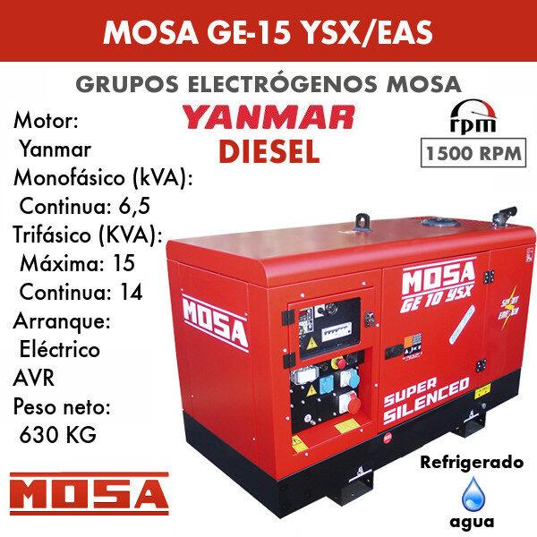 Grupo electrógeno Mosa GE-15 YSX/EAS