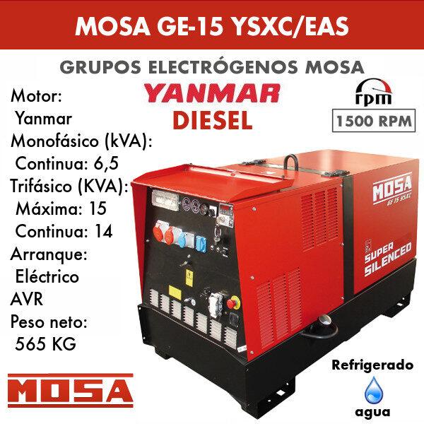 Grupo electrógeno Mosa GE-15 YSXC/EAS