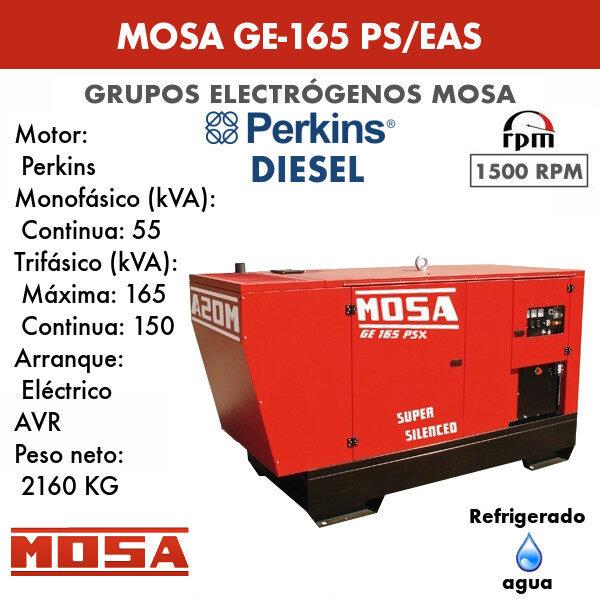 Grupo electrógeno Mosa GE-165 PS/EAS