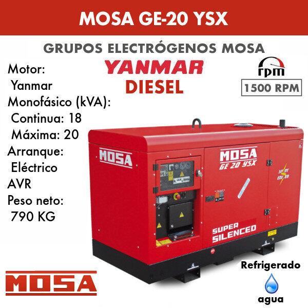 Grupo electrógeno Mosa GE-20 YSX monofásico