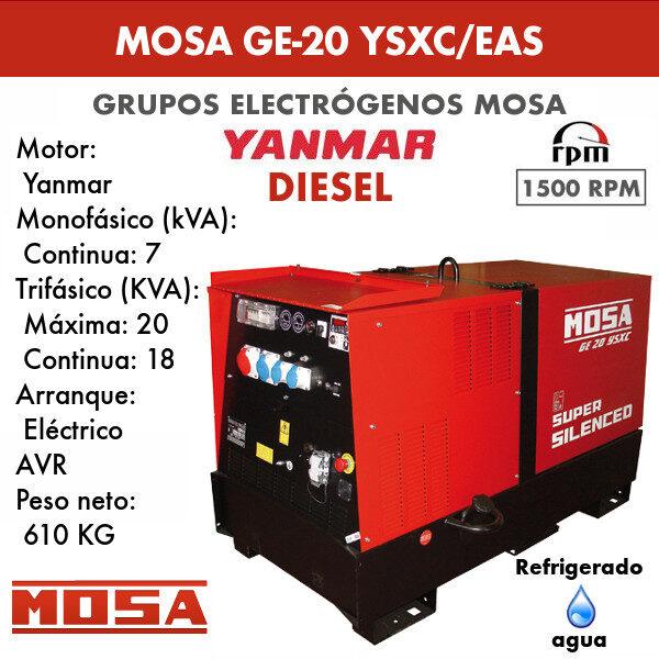 Grupo electrógeno Mosa GE 20 YSXC/EAS