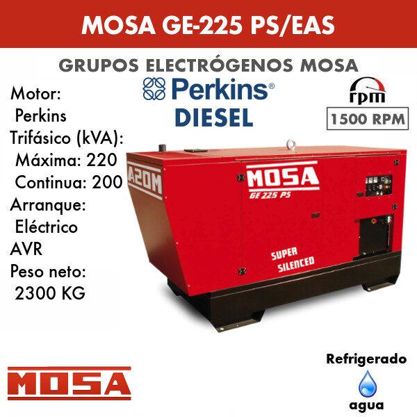 Grupo electrógeno Mosa GE-225 PS/EAS