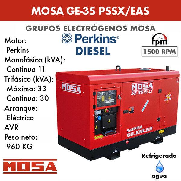 Grupo electrógeno Mosa GE-35 PSSX/EAS