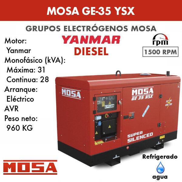 Grupo electrógeno Mosa GE-35 YSX