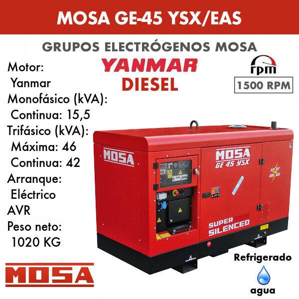 Grupo electrógeno Mosa GE-45 YSX/EAS