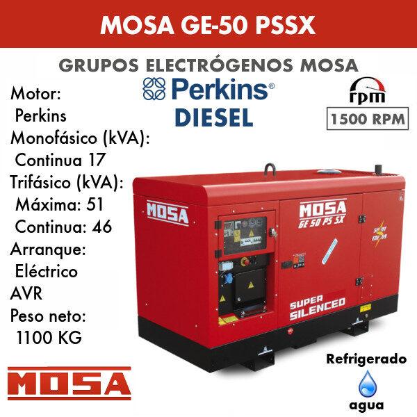 Grupo electrógeno Mosa GE-50 PSSX
