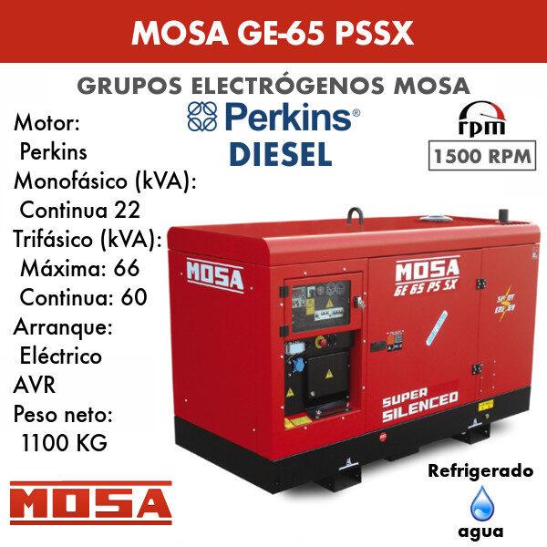 Grupo electrógeno Mosa GE-65 PSSX
