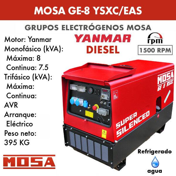 Grupo electrógeno Mosa GE-8 YSXC/EAS