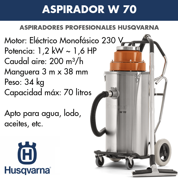 Aspirador Husqvarna W 70 para lodos, aguas, aceites, etc