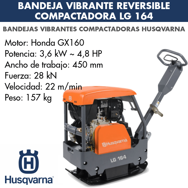 Bandeja vibrante reversible compactadora lg 164