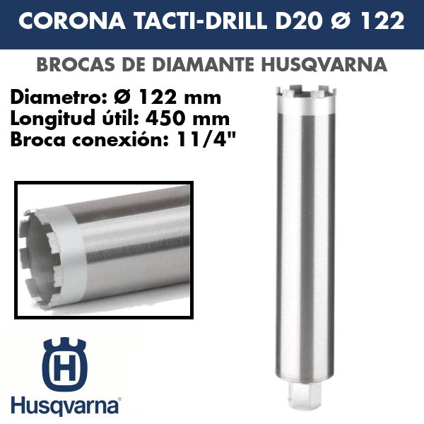 Broca de diamante Corona Tacti-Drill D20 Ø 122
