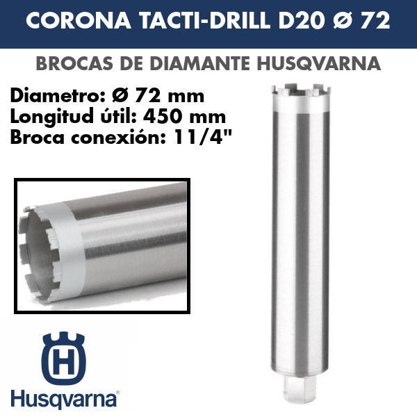 Broca de diamante Corona Tacti-Drill D20 Ø 72