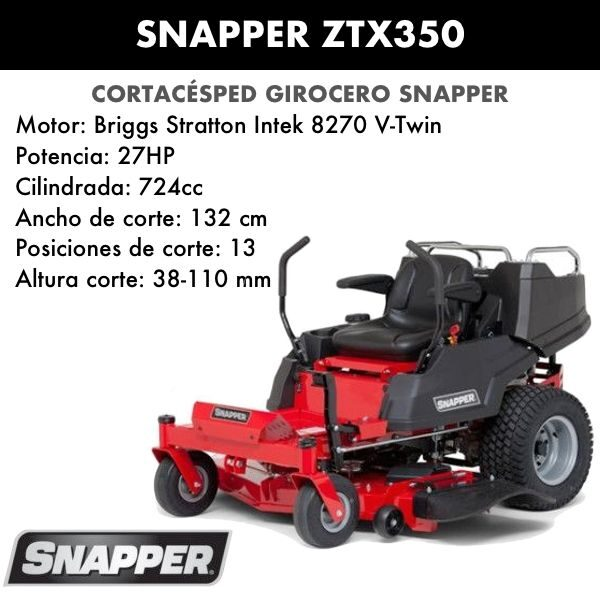 Cortacésped girocero Snapper ZTX350