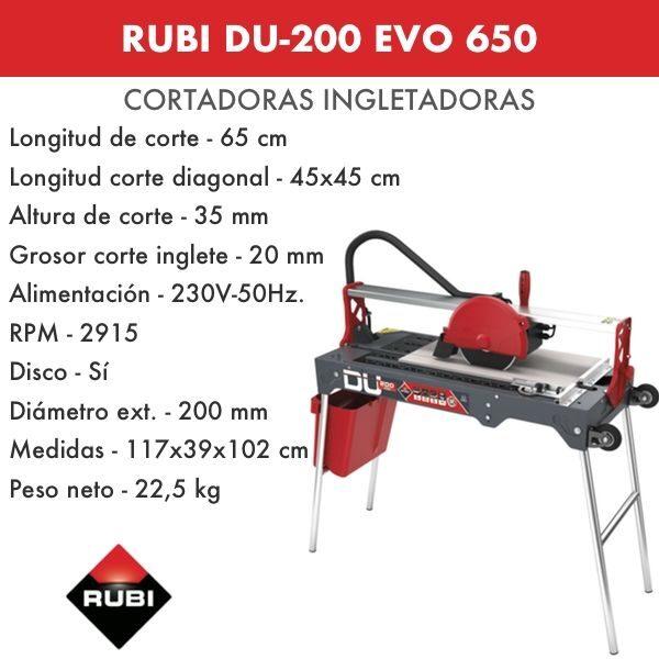Cortadora Rubi DU-200 EVO 650