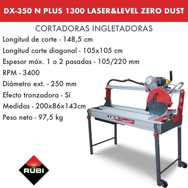 Cortadora Rubi DX-350 1300 Plus Laser&Level Zero Dust