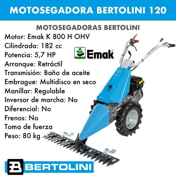 Motosegadora Bertolini 120 Emak k800 h ohv