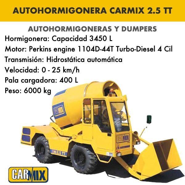 AUTOHORMIGONERA MODELO CARMIX 2.5 TT