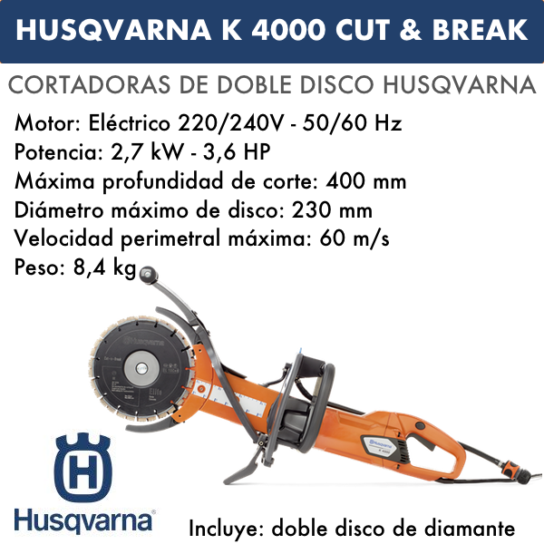 Cortadoras Husqvarna de doble disco K 4000 Cut & Break