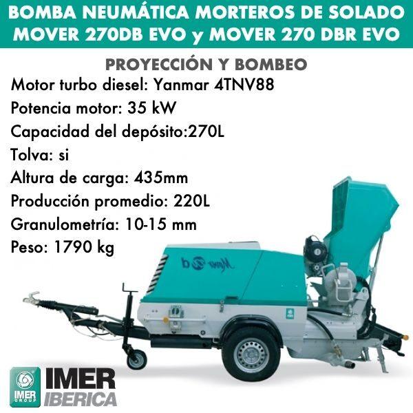Bomba neumática morteros solado Mover 270 DB y Mover 270 DBR EVO