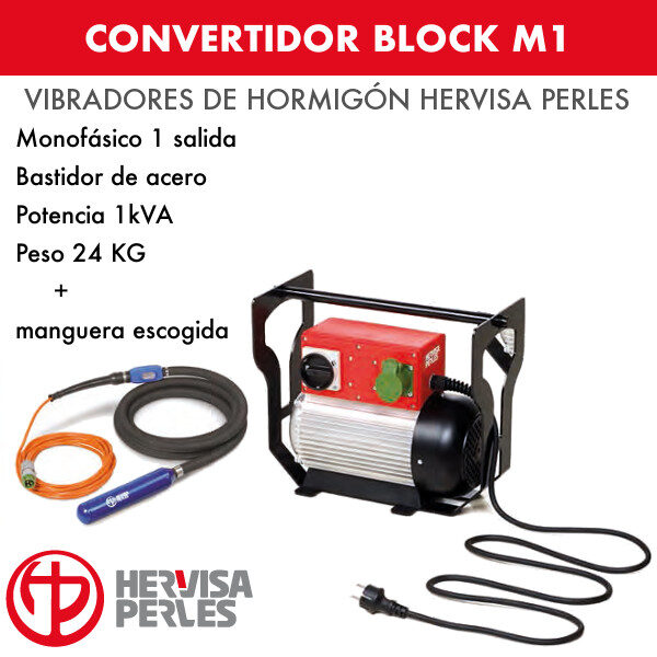 Convertidor monofásico hervisa perles Block M1 1 salida + manguera AV premium