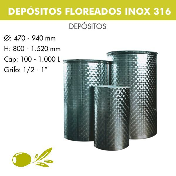 DEPÓSITOS FLOREADOS PARA ACEITE INOX 316
