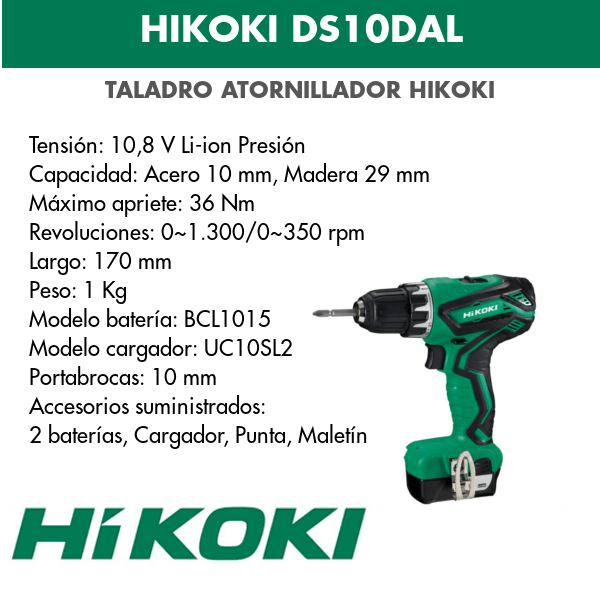 Bohrschraubendreher Akku Hikoki DS10DAL 18v
