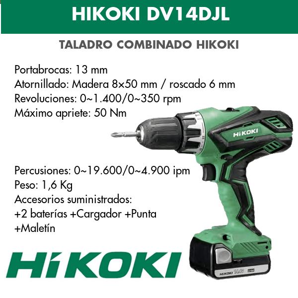 Taladro combinado batería Hikoki DV14DJL 14.4v