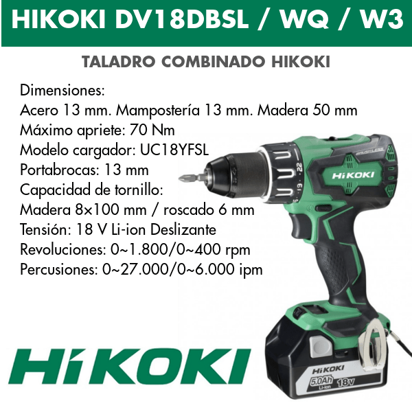 Taladro combinado batería Hikoki DV18DBSL / DV18DBSLWQ / DV18DBSLW3 18v